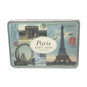 Cavallini & Co. ~ 36 Assorted Paris Gift Tags In Collectible Tin ~ New & Sealed