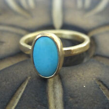 Handmade Turkish Designer Turquoise Ring 24K Gold Over Sterling Silver