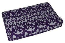 Indian Handmade Purple Queen Kantha Quilt Bedspread Throw Blanket Gudari Bed