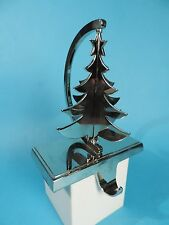 POLISHED CHROME CHRISTMAS TREE STOCKING HOLDER HANGER - ROTATING ON SWIVEL