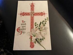 Vintage Postcard - To Wish You Easter Joy - Red Cross And Flowers - R1