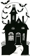 Halloween SPOOKY HAUNTED HOUSE Wood Mounted Rubber Stamp NORTHWOODS NN10275 New