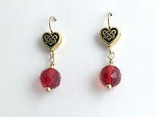 Gold tone Pewter & 14k gf Celtic Knot Heart dangle earrings, red crystal, love