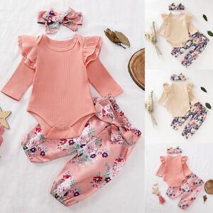 3PCS Newborn Baby Girl Clothes Long Sleeve Bodysuit Pants Headband Set Outfits