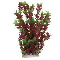 40cm Plastic Green Red Leaves Water Plants Ornament for Fish Tank Aquarium Y6S3