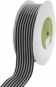 Premium Woven Grosgrain Black White Stripes Ribbon  38mm - sold by the metre