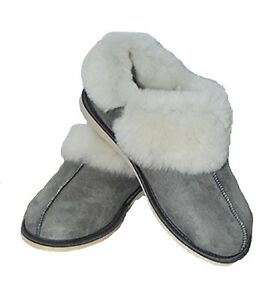 Natural Warm Lovely Grey Wool / Sheepskin Slippers ALL SIZES PERFECT FOR GIFT