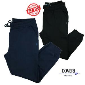 Pantaloni tuta uomo con polsini Coveri cotone taglie forti nero 3xl 4xl 5xl 6xl