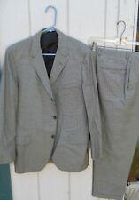 """Vintage Men'S 60;S Black&White Check 2 Pc Suit Size Jacket Large(44)Pants 33""""W"""