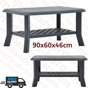 2 Tier 90cm Coffee Table Modern Design Outside Green Garden Plastic Furniture