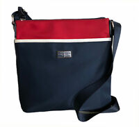 Tommy Hilfiger Navy Red Nylon Large Crossbody Handbag with Front Compartment