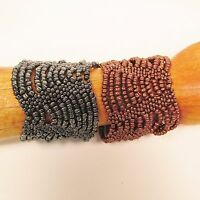 Set of 2 Copper Hematite Multi Strand Handmade Swag Stretch Seed Bead Bracelets
