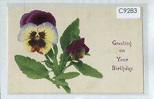 C9283cgt Greetings Birthday Pansy flowers Stuttgart vintage postcard