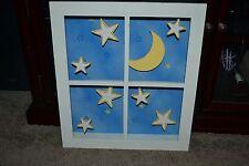 Moon & Stars 3-D Wall Mountable Window Wooden Shadow Box VG COND!!!