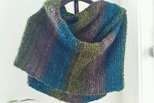 hand-knitted Rainbow Bouncle throw/ cape/scarf(green turquiose)