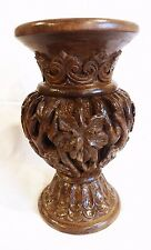 ONE OF A KIND HAND CARVED VASE ON WALNUT WOOD, GRAPE LEAFS