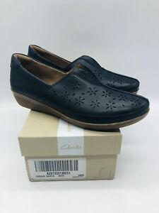 Clarks Women's Everlay Dairyn Leather Perforated Slip-ons - NAVY US 9W / EUR 40
