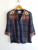 JOHNNY WAS WORKSHOP ~ Embroidered  Pucker Cotton Peasant Bohemian Top ~ XS