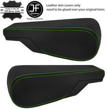 GREEN STITCH 2X SEAT ARMREST REAL LEATHER COVERS FITS VW TYPE 3 T3 MULTIVAN