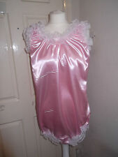 ADULT BABY~MAIDS~SISSY~UNISEX FRILLY SATIN & LACE TRIM ALL-IN-ONE BODY~TEDDY