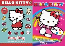 HELLO KITTY ___ 2 BOOK SET ___ BUSY DAY & MAGIC PAINTING __ NEW ___ FREEPOST UK