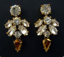 "NEW J. CREW FACETED GLASS CRYSTAL DROP EARRINGS GOLD 1-3/8""L"