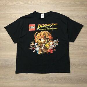 Vintage Indiana Jones Shirt Mens XL Black Short sleeve Lego Characters Delta