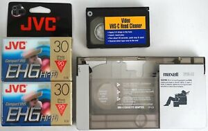 Maxell VP-CA VHS-C Cassette Adapter w/ 2 30-Min Cassettes & Head Cleaner
