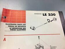shindaiwa Le230 illustrated parts list,Ipl