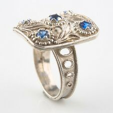Beautiful Sterling Silver Blue Spinel Ring, Size 7.5