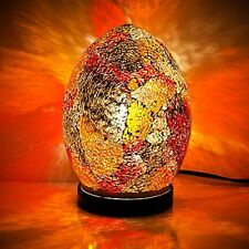 Fabulous Mini Mosaic Glass Crackle Red/Orange Egg Table Lamp ,Desk Bedside LM77R