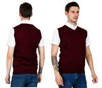 Men's Burgundy Knitted Slip Over Retro V Neck Sleeveless Pullover Tank Top