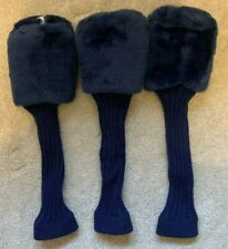 FORE! Golf Club Head Covers - Blue Fluffy Knitted - 1, 3, X