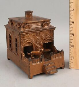 Antique JUDD Cast Iron Dog Turntable Mechanical Building Bank Copper Flashing NR