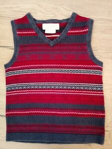 John Lewis Heirloom Age 8 Red Navy Fairisle Knitted Tank Top with Cashmere VGC