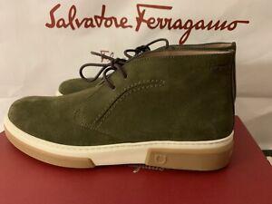 Salvatore Ferragamo ALDER 8.5 M CHUKKA BOOTS GREEN SUEDE 0704410
