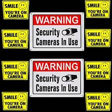 METAL SECURITY CAMERAS IN USE WARNING YARD SIGNS+SMILE YOUR ON VIDEO STICKER LOT