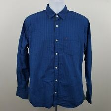 Indian Terrain Slim Fit Blue Gingham Check Men's L/S Collar Button Shirt XL-44cm