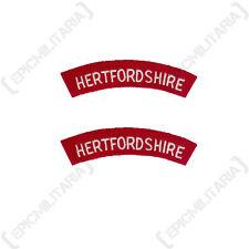 Hertfordshire Regiment - WW2 Repro Shoulder Titles Patch Badge Flash British Arm