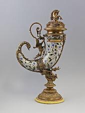 Somptueux Surtout De Table Corne À Boire Dragon Céramique Bronze 9937566-dss