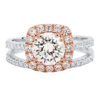 2.25CT Round Wedding Engagement Bridal Halo Ring Band set 14k White Rose Gold