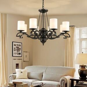 Hanging Ceiling Fixture Chandelier Elegant Vintage Style Frosted Glass Lampshade