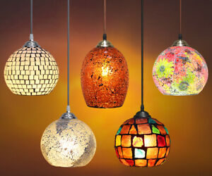 Vintage Glass Globe Ceiling Hanging Pendant Light Shade Mosaic Style Lighting