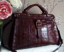 *Exc.* Fossil Vintage Revival Brown Croc Leather Satchel Shoulder Bag Holdall
