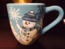 St. Nicholas Square Winter Wonderland Snowman Mug Coffee Blue Stoneware 16 oz