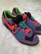 Nike Vtg 90's Echelon Cycling Shoes Suede Purple Neon Orange Green Sneakers 8