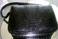 Alligator Handbag Black with Long Shoulder Strap