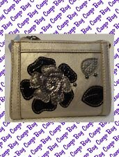 Metallic Gold and Black Mini Wallet w/ Flower Embelishments ~ Relic Zip Top