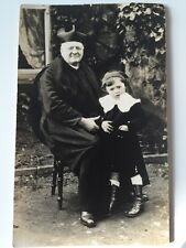 Vintage Postcard Photograph - Real Person - Unknown Cannon Clergy And Boy