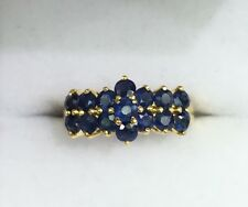 14k Solid Yellow Gold Flower Cluster Band Ring Natural  Sapphire 2TCW, Sz 7